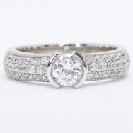 Milgrained Pave Set Tension Engagement Ring 14K White Gold