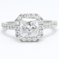 Octagon Shape Halo for Princess Cut Diamond 14k White Gold