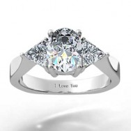 Oval Shape With Triangle Cut Diamonds Engagement Ring 14k White Gold