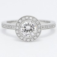 Pave Set Halo Style Diamond Engagement Ring 14k White Gold