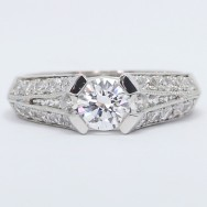 Pave Tension Style Engagement Ring 14k White Gold