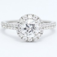 Round Halo With French Cut Pave Diamonds 14k White Gold