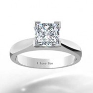 Slightly Tapered Princess Cut Solitaire 14k White Gold