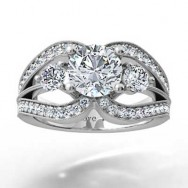Split Band Designer Setting 14k White Gold