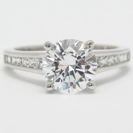Tapered Channel Princess Set Engagement Ring 14k White Gold