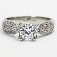 Tapered Pave Milgrained Design Engagement Ring 14k White Gold