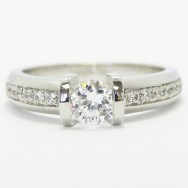 Tension Style Bead Set Diamond Engagement Ring 14k White Gold