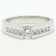 Tension Style Channel Set Diamond Ring 14k White Gold