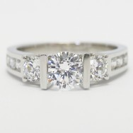 Tension Style Double Bar Setting Engagement Ring 14k White Gold