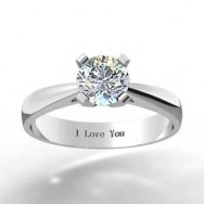 Thin Band Tapered Engagement Ring 14k White Gold