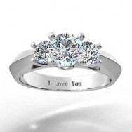 Three Stone Knife Edge Diamond Engagement Ring 14k White Gold