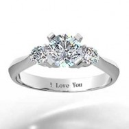 Three Stone Knife Edge Engagement Ring 14k White Gold