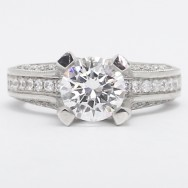Venetian Style Diamond Engagement Ring 14k White