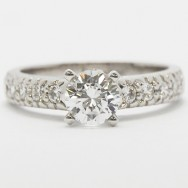 Vintage Style Diamond Accent Engagement Ring 14k White Gold