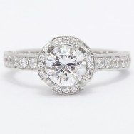Vintage Style Diamond Engagement Ring 14k White Gold