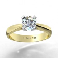 Thin Band Tapered Engagement Ring 14k Yellow Gold