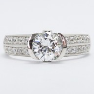 2 Row Pave Set Euro Channel Engagement Ring 14k White Gold