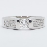 Channel Set Tension Style Engagement Ring 14k White Gold