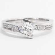 Double Band Princess Cut Tension Style 14k White Gold