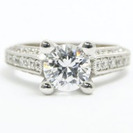 E93574 Milgrained Edges and Diamonds Claw Accent Engagement Ring 14k White Gold.jpg