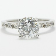 French Cut Cathedral Set Engagement Ring 14k White Gold ALDAN01