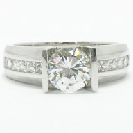 Straight Bar Princess Cut Tension Style Ring 14k White Gold