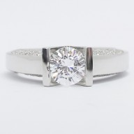 Tension Setting with Side Pave Accents 14k White Gold