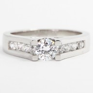 Tension Style Channel Set Engagement Ring 14k White Gold