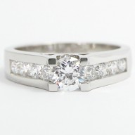 Tension Style Channel Set European Engagement Ring 14k White Gold