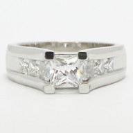 Tension Style Princess Cut Diamond Engagement Ring 14k White Gold