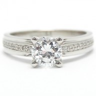 Thin Bead Channel Set Engagement Ring 14k White Gold