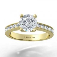 Channel Set Engagement Ring 14k Yellow Gold
